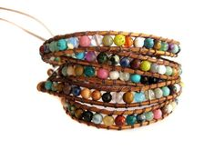 Bohemian Chic Leather Wrap Bracelet with Multi Colored Semi Precious Stones