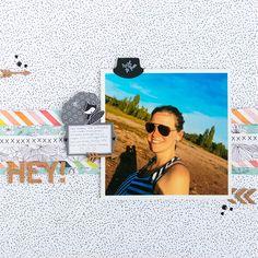 HEY! scrapbook layout by Nikki Kehr