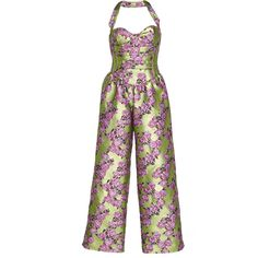 Giuseppe di Morabito Floral Jacquard Jumpsuit ($2,080) ❤ liked on Polyvore featuring jumpsuits, green, green jumpsuits, jump suit, floral bustier, floral wide leg jumpsuit and halter tops