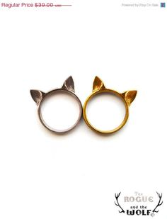 plateado o dorando?  en SUMMER SALE -- Cat Ears Ring, cute cat ring, kawaii ring, animal fashion ring, neko ears ring, for the sweet girlfriend, for the special ca