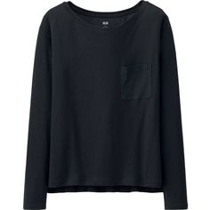 UNIQLO Women Modal Linen Long Sleeve T-Shirt (10 CAD) ❤ liked on Polyvore