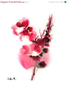 Abstract Flowers Fine Art Print of Original Watercolor Painting  Floral Pink  Abstract Art      Desire and Fidelity      Professional quality