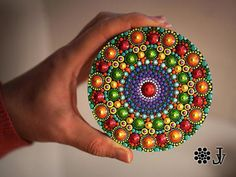 This is a gorgeous miniature painting- so vibrant, colorful and tactile! Bright and amazing work of Dotillism Art, Meditation Mandala, Hand painted Mandala fridge magnet with - acrylic paint on wood diametr 10 cm (3,9inch ). This is really exclusive piece and I put a lot of time ,