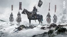 ArtStation - watching the battle, David Benzal Oni Samurai, Samurai Warrior, Woman Warrior, Fantasy World, Fantasy Art, Samurai Artwork, Ghost Of Tsushima, Horror Themes, Fantasy Illustration