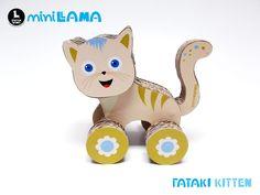 Amazing handmade cardboard kitten toy!