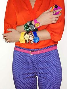 I know this should be all about the watches but I am all about those blue pattern pants and pink belt.