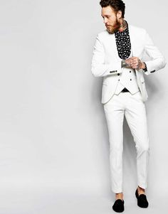 Noose+&+Monkey+White+Suit+with+Stretch+And+Shawl+Lapel+in+Super+Skinny+Fit