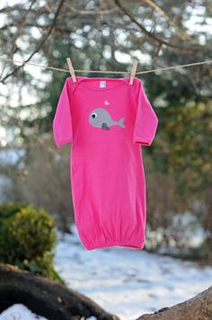 Baby Girl Whale Gown  American Apparel 100 by LadybugsandBeans, $25.00