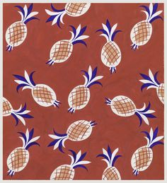 On red background, a pattern of pineapple motifs in white and coral with red cross-hatch marks and blue and red tops. Textile Prints, Textile Design, Fabric Design, Floral Prints, Textiles, Fruit Pattern, Pattern Art, Print Patterns, Pattern Design