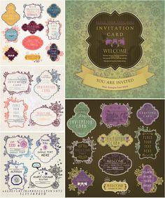 Vintage invitation card templates vector