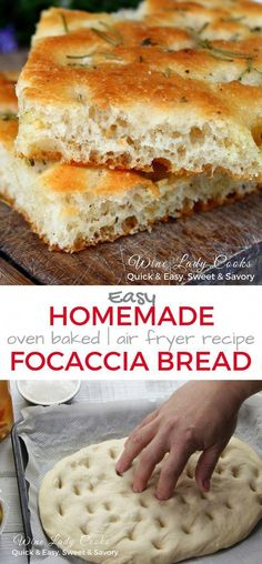 Easy Homemade Focaccia Bread can be made in the air fryer or oven baked using a pizza dough. Focaccia bread is a delicious substitute for store bought bread with your meal and can also be served as an appetizer for family gatherings or parties. Homemade Focaccia Bread, Focaccia Bread Recipe, Bread Recipes, Cooking Recipes, Keto Bread, Easy Bread, Bread Baking, Homemade Breads, Gourmet Recipes