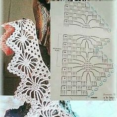 Patterns and motifs: Pretty short borders - Salvabrani Filet Crochet, Crochet Lace Edging, Crochet Borders, Crochet Cross, Crochet Chart, Crochet Trim, Irish Crochet, Crochet Doilies, Crochet Flowers