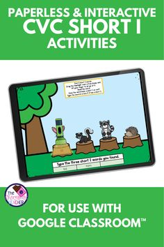 How about some NO PREP paperless digital CVC Words fun? This CVC short I Google Slides™ product is compatible with Google Classroom™. All you do is download, assign, Teaching Phonics, Kindergarten Literacy, Literacy Centers, Short I Activities, Short I Words, Woodland Animals Theme, Blending Sounds, First Grade Phonics, Cvc Words