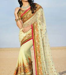cec4d30805e6a8 Buy yellow embroidered georgette saree with blouse wedding-saree online  Georgette Sarees