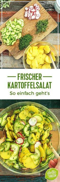 Vegetarischer grüner Salat und frischer Kartoffelsalat.