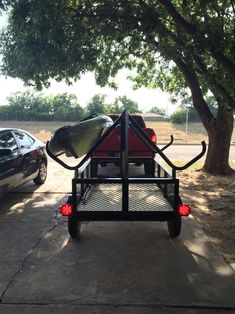 This Kayak trailer is perfect for all your out door adventures this summer. There is Plenty of storage space! Beach Trailer, Diy Camper Trailer, Kayak Trailer, Trailer Build, Kayak Boats, Canoe And Kayak, Kayak Fishing, Sea Kayak, Fishing Stuff