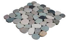 Sliced Pebble Random Sized Natural Stone Pebble Tile in Green/Tan