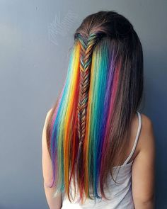 Elegant Rainbow Hair that looks colorful and fashionable - littlewishlive Hair Dye Colors, Cool Hair Color, Love Hair, Gorgeous Hair, Hidden Rainbow Hair, Pelo Multicolor, Coloured Hair, Hair Colorist, Crazy Hair