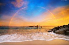 Zachód, Słońca, Tęcza, Morze, Pale, Kamienie