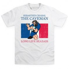 T Shirt - French rugby star Sebastien 'Seabass' Chabal is known for his full beard, long hair and ferocious tackling, leading the French rugby fans to nickname him l'Hom. French Rugby, Rugby Kit, International Rugby, Six Nations, Rugby League, Tees, Mens Tops, T Shirt, Shopping