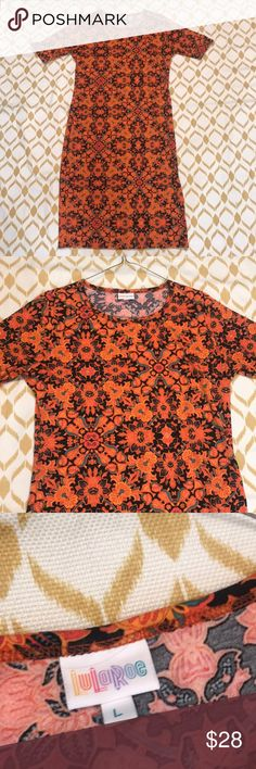 Beautiful lularoe Julia dress size Large floral Beautiful lularoe Julia dress size Large. Orange and black with accents of teal. Absolutely stunning and beautiful. Mint condition, no rips/stains/holes etc. LuLaRoe Dresses Maxi
