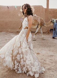 Rue de Seine Wild Heart Collection. Boho Wedding Dress with Fringe, Lace and Crochet for the Modern, Free-Spirited Bride. Wedding Dress in Morocco.