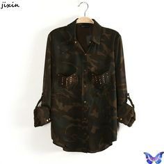 Blusinhas Camisas Femininas Women Clothes Pocket Rivet Camo Army Green Shirt Military Uniform Long Sleeve Cotton Blouse