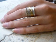 Sterling Silver Band Silver Gold Ring Unisex Ring by artisanlook