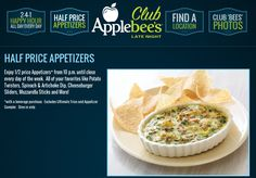 Pinned July 3rd: Appetizers are 50% off after 10pm daily at Applebees coupon via The Coupons App