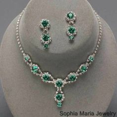 Emerald Green Bridesmaids Rhinestone Necklace set wedding party prom evening #Unbranded