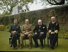 The Prime Minister, Winston Churchill, with his chiefs of staff in the garden of No. 10 Downing Street, London, 7 May 1945. Left to right: Air Chief Marshal Sir Charles Portal; Field Marshal Sir Alan Brooke; Winston Churchill, the Prime Minister; and Admiral Sir Andrew Cunningham.