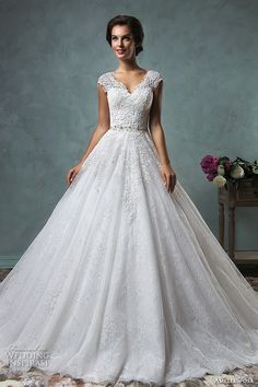 amelia sposa 2016 wedding dresses lace cap sleeves  v neckline embroidered lace bodice gorgeous a line ball gown wedding dress dominica