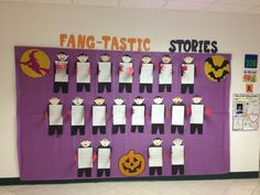 """Fang-tastic Stories"" is a fan-tastic title for a Halloween creative writing bulletin board display.  Having students write their stories inside Dracula bodies is a great idea!"