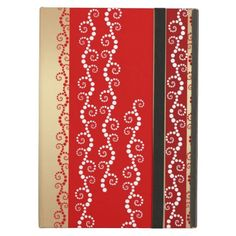 Custom name / personalized unique design case to suit all iPad models : Whimsical curls pattern in light gold and shades of red. #iPadAir #iPadMini #iPad