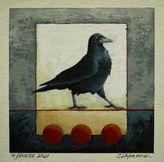 Small raven painting, Black bird painting, Crow artwork, Original bird art, S. Crow Painting, Original Artwork, Original Paintings, Small Paintings, Affordable Art, Bird Art, Raven, Etsy Handmade, Handmade Gifts
