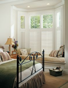 White shutters alternative for bay window with window seat White Shutters, Interior Window Shutters, Wooden Shutters, Interior Windows, Shutters For Bay Windows, Custom Shutters, Front Windows, Casement Windows, White Shutter Blinds