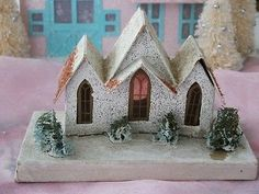 Vintage Christmas Putz Cardboard Village House Church Sponge Trees