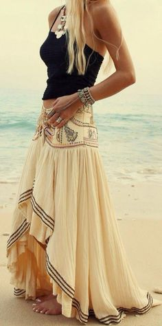 Beige Asymmetric Bohemian Maxi Skirt - Skirts - Bottoms