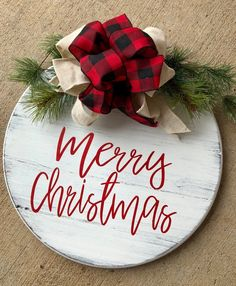 Christmas Door Hanger – farmhouse Christmas Door Decor – Round Door Sign This shiplap Farmhouse Merry Christmas Sign by Junque 2 Jewels is too cute! Cottage Christmas, Rustic Christmas, Christmas Holidays, Christmas Music, Christmas Island, Christmas Christmas, Christmas Door Decorations, Christmas Wreaths, Christmas Door Hangers
