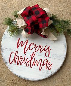 Christmas Door Hanger - Shiplap Door Hanger - Round Door Sign - Farmhouse Christmas - Rustic Christmas Sign - Holiday Sign