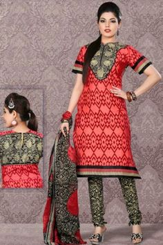 Coral Red Cotton Printed Casual and Party Churidar Kameez Sku Code:372-4332SL71657 $ 40.00