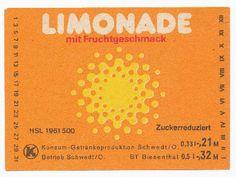 """DDR Museum - Museum: Objektdatenbank - Etikett """"Limonade m. Fruchtgeschmack""""    Copyright: DDR Museum, Berlin. Eine kommerzielle Nutzung des Bildes ist nicht erlaubt, but feel free to repin it!"""