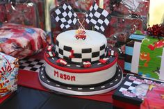 Race car theme for boys birthday party.