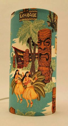 Tiki Lounge Hula Girls Hawaiian style Retro by VillageLampShop