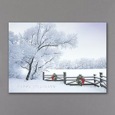 Frosty Winter Scene  http://mediaplus.carlsoncraft.com/Holiday/Shop-All-Holiday-Cards/YM-YMM1040-Frosty-Winter-Scene.pro