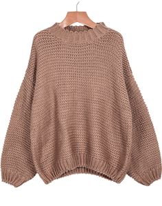 Khaki Long Sleeve Loose Knit Sweater