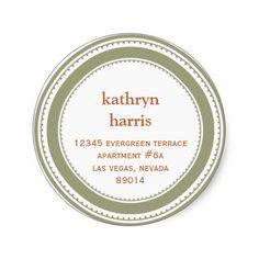 Green brown medallion modern circle #address label #stickers