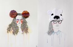 Fashion Illustrations with Embroidered Accents and Accessories by Izziyana Suhaimi