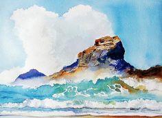 Waves Bursting on Rocks watercolor painting