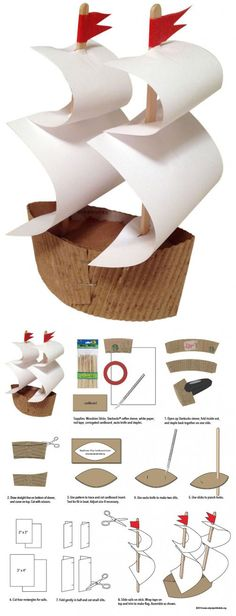 mayflower-ship-craft-project  Place Cards Use large paint chips for sails Chopstick or skewer for post